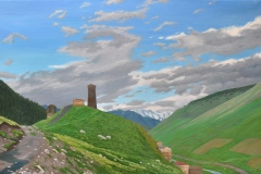 Flying-Spirits-Passing-Behind-an-Ushguli-Tower-2016-Oil-on-Linen-30-x-48-1