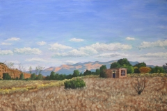 Mountains-Outside-Santa-Fe-with-Turning-Aspens-24x36-Oil-on-Linen