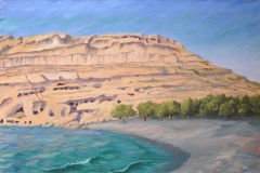 On-the-Beach-with-Terry-at-Matala-1987-24x36-Oil-on-Linen