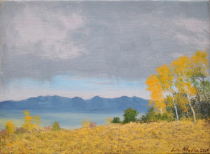 Aspens with Distant Storm 9x12 Oil on Linen