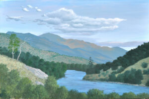 Evening view of the Canadian River in Colorado, 24×36