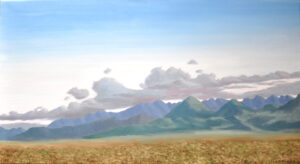Mountains on the Road to Westcliffe, 20x36 Oil on Linen