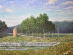 Tower by a Stream, 30x40 Oil on Linen