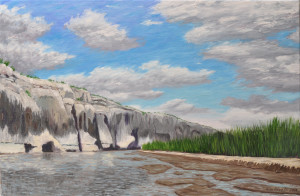 Cliffs and Reeds along the Rio Grande, 20 x 30, Oil on Linen 2014