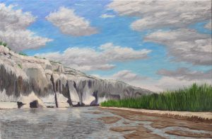 Cliffs and Reeds along the Rio Grande, 2014, Oil on Linen, 20 x 30