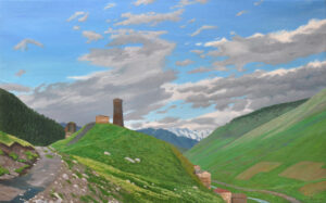 Flying Spirits Passing Behind an Ushguli Tower, 2016, Oil on Linen, 30 x 48