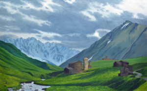 May Morning in Ushguli. 2015, Oil on Linen, 30 x 48