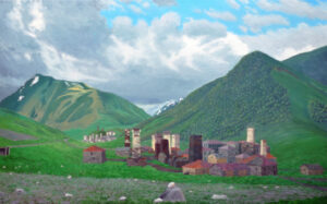 Villages of Ushguli, 2015, Oil on Linen, 30 x 48