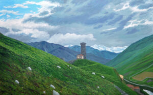Tower over Ushguli, 2015, Oil on Linen, 30 x 48